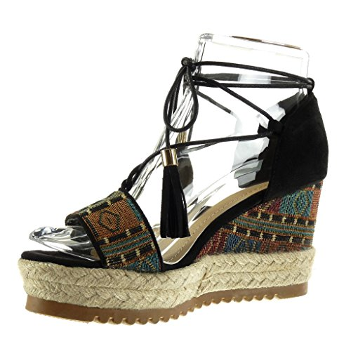 Angkorly Scarpe Donna Sandali Mule - Platform Shoes - Aperto - Ricamato - Frange - Corda Tacco Alto 9 Cm Nero