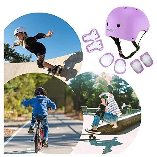 Set di Casco Protezione Bambini, COOLGOEU 7 in 1 Set di Casco, Ginocchiere, gomitiere e Protezione Polso per Bambini per Pattini a Rotella,BMX, Skateboard, Bicicletta, Hoverboard (Viola) - 3