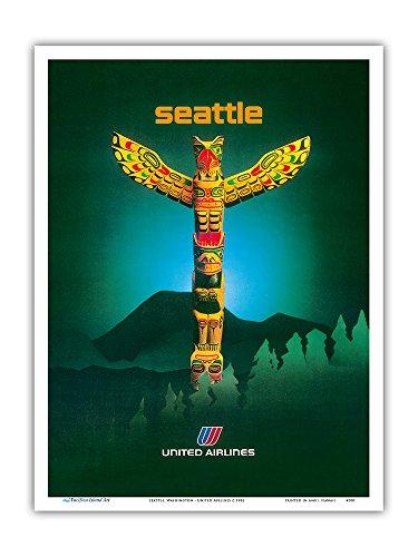 Pacifica Island Art Seattle, Washington - United Airlines - Totem Pfahl - Vintage Retro Fluggesellschaft Reise Plakat c.1982 - Kunstdruck - 23cm x 31cm -
