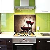 Pantalla antisalpicaduras de cristal / Panel de vidrio templado para cocina, 75 x 60 cm, Copas de vino, UltraClear ® Glass