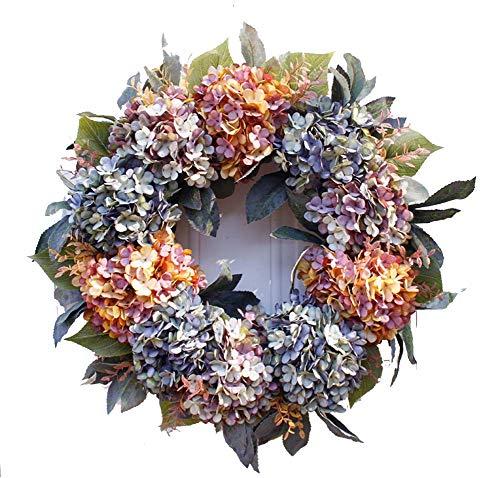 Yw-Flower Corona de hortensias Artificiales, Corona de otoño Hecha a Mano, hortensias...
