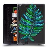 Head Case Designs Officiel Cat Coquillette Feuille De Fougère Verte Bleue Tropicaux 2 Étui Coque en Gel Molle pour Amazon Kindle Fire HDX 8.9