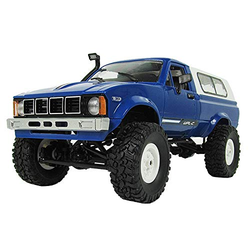 DingLong 4WD Ferngesteuertes Auto,C24 Fernbedienung 1:16 4WD 2,4G Militärischer Rock Buggy Crawler Off-Road RC Auto (Blau)