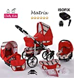Chilly Kids Matrix II 4 in 1 carrozzina passeggino combinato (seggiolino per auto, base ISOFIX, parapioggia, zanzariera, ruote girevoli, 62 colori) 48 rosso & quadrettato