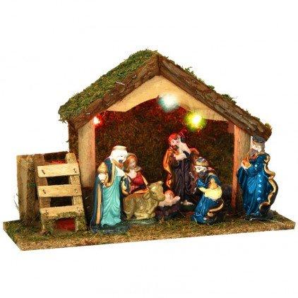 3 en 1 Ensemble de Noël : 1 crèche lumineuse + ses 8 santons + 1 Eclairage led