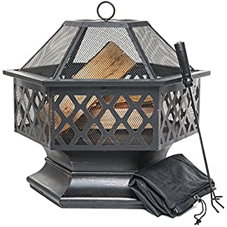 PRISP Brasero de Exterior, Hoguera Hexagonal para el jardín, Patio o la terraza, Chimenea de leña con Protector de chispas, atizador y Cubierta Protectora, Negro y Bronce
