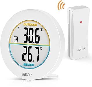 Au/ßensensor Reichweite 100 m Blusea Wetterstation Funk mit Au/ßensensor,Funk Thermometer Innen- Au/ßen-Thermometer mit LCD Display Inkl