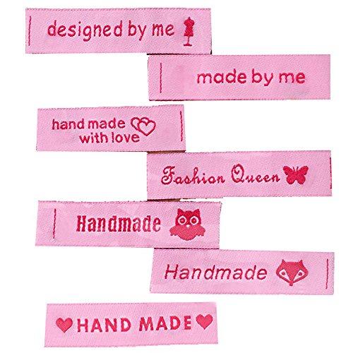 7 Aufnäher Etiketten Stoffetiketten Webetiketten Geschenk Sprüche Spruch Rosa Pink Motive Texte ca. 6 x 1,5 cm (Logo Häkeln)