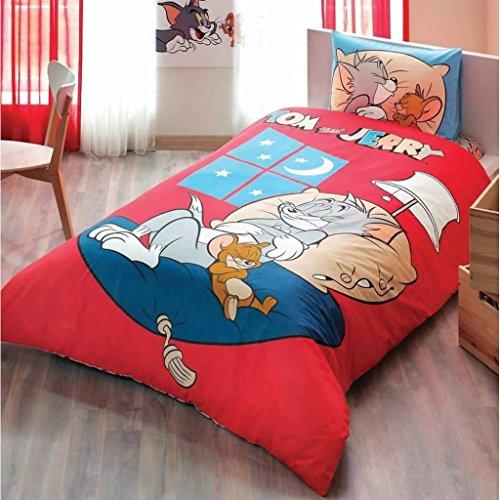 Tom & Jerry Good Night 3PCS Twin/Single Größe% 100Baumwolle Bettbezug Set Bettwäsche Bettwäsche (Mickey-mouse-twin Bettwäsche)