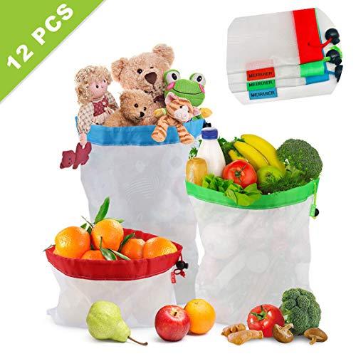 Meiruier 12pcs Bolsa Reutilizable Algodon de Vegetales,Bolsa de Malla Lavable,Bolsas Reutilizables Compra, Bolsas de Malla Transpirables Adecuado para Frutas y Verduras Productos Frescos