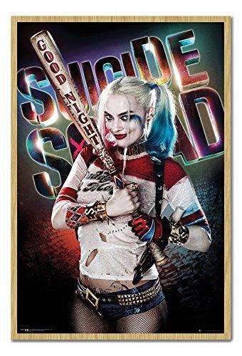 (Suicide Squad Harley Quinn Good Night Poster Kork Pinnwand Buchenholz-Rahmen, 96,5x 66cm (ca. 96,5x 66cm))