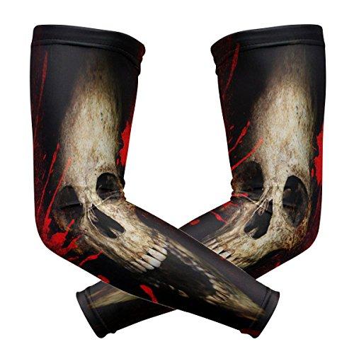 ZKKO Skull Kühlende Arm-Ärmel für Männer und Frauen, UV-Schutz, für Laufen, Golf, Radfahren, Armwärmer, 1 Paar