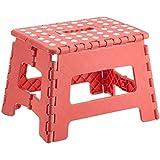 Zeller 99993 - Taburete de plástico plegable, 32 x 25 x 22 cm, color rosa