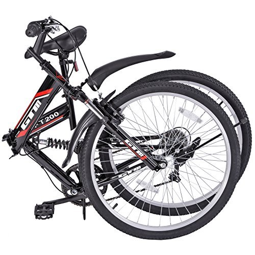 Gracelove 26 Folding Mountain Bicycle 7-Speed Shimano Folding Bike Sport Fold (Black) by Love+Grace