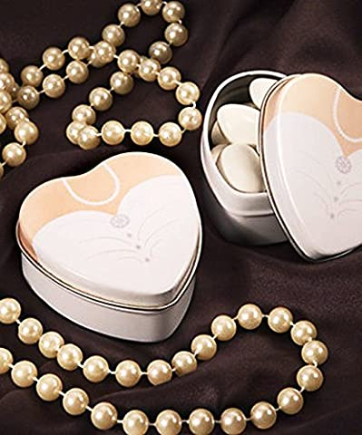 ELEGANT HEART SHAPED BRIDE FAVOUR TINS/BOXES IDEAL GIFTS FOR YOUR GUESTS (10, BRIDE)