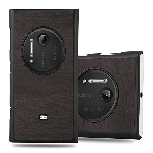 d Case Hülle in WOODEN SCHWARZ von Cadorabo - Holz Optik Design (Vintage) Schutzhülle Handyhülle Bumper Back Case Cover (Nokia Lumia 1020 Hard Hülle)