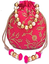 429ced7f3f Amazon.in: Pink - Potlis & Wristlets / Handbags, Purses & Clutches ...