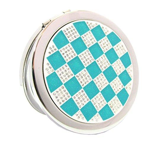 Élégant simple Grille Double Cosmetic Mirror Mirror Maquillage Portable, Bleu