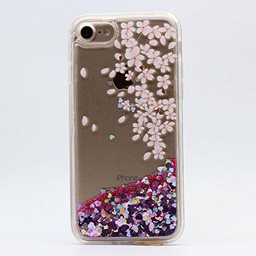 Cover Liquido per Apple iPhone 7 / 8 Plus , Keyihan Ragazza Donna Custodia Rosa Style Divertenti Brillantini Glitter Bling Liquid Flowing Case in Plastica Rigida e Silicone Morbido (Palloncino) fiore di ciliegio Caduta 1#