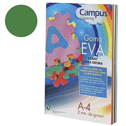 Campus University EVA-A4-DGN - Goma, 2 mm, 10 unidades, A4, verde oscuro