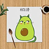 Cartoon Print Avocado Cat Food and Drink Washable Placemats for Dining Table Double Fabric Printing Polyester Place Mats for Kitchen Table Set of 6 Table Mat 12'X12'