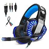 Mengshen 3,5 Mm Stereo-Gaming-Headset - Mit Mikrofon Und Led-Licht FüR PC, PS4 Und Xbox One - FüR Computer-Gamer, GM2 Blue