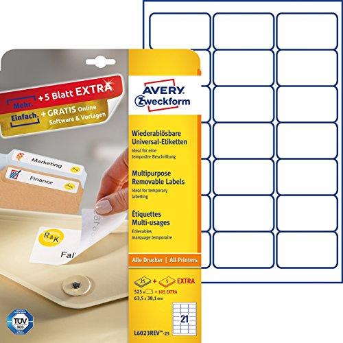 Avery Zweckform L6023REV-25 Etiketten (A4, 525 Plus 105 Universal-Etiketten extra, ablösbar, 63,5 x 38,1 mm) 30 Blatt, weiß