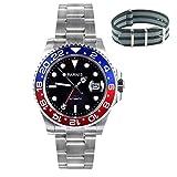 Whatswatch 40mm Parnis vetro zaffiro GMT Master rosso & blu lunetta orologio automatico pa-0034