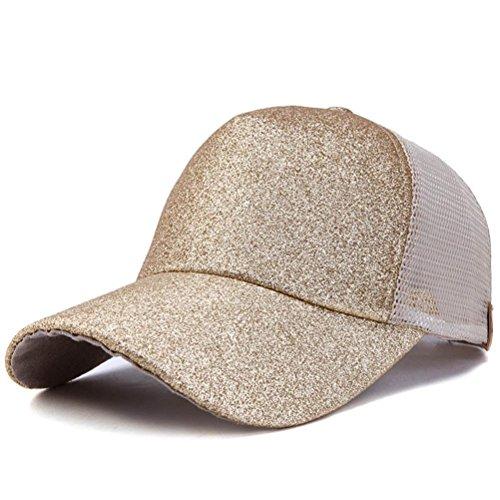 UFACE Pailletten offene Kappe Frauen Pferdeschwanz Baseball Cap Pailletten glänzend chaotisch Brötchen Snapback Hut Sun Caps (Golden)