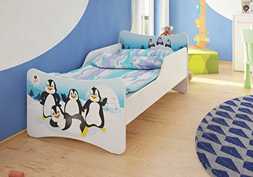 *BEST FOR KIDS KINDERBETT MIT 10 CM MATRATZE TÜV ZERTIFIZIERT SUPER AUSWAHL 8 GRÖßEN VIELE DESIGNS (90×200, Pinguine)*