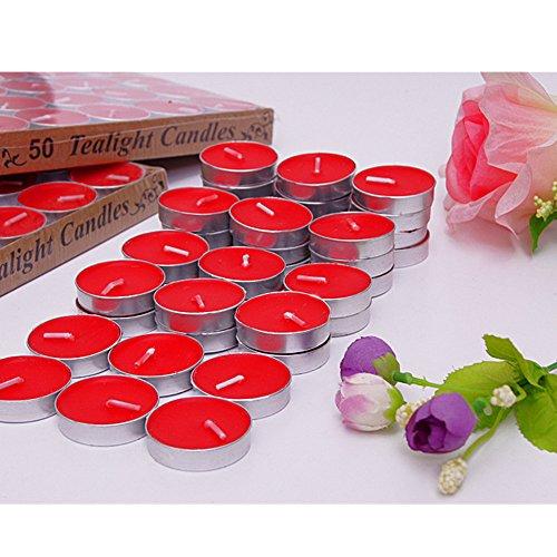 Ailiebhaus 50 Teelicht Set romantische Herz Kerzen (Rot)