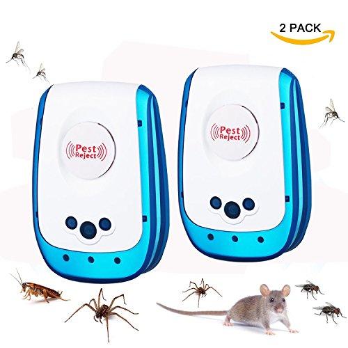 KACOOL Ultraschall Schädlingsbekämpfung Insect Repeller mit Stecker Haus Schädlingsabwehrmittel Eidechse Abwehrmittel für Mäuse, Ameisen, Kakerlaken, Nagetiere, Ratten, Käfer, Spinne, Fliegen, Ungiftig und Umweltfreundlich für drinnen im Freien (2 PACK)