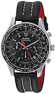 DETOMASO Men's Firenze Quartz Watch with Black Dial Chronograph Display and Black Leather Bracelet SL1624C-BK