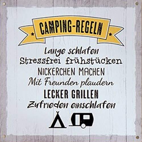 G.H. Vintage Retro Metallschild, Modell: Camping Regeln, Maße 19 x 19 cm, weiß, ideal für Camper, Zelter, Caravaner, Wohnmobilisten, oder einfach Zuhause.