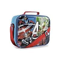 Con immagine di Captain America, Hulk, Thor e Iron Man. Con tracolla regolabile. Misure appross (esclusi i manici): 26 x 9 x 22cm. Materiale: PVC e 100% poliestere. Lavabile in lavatrice a 30°.