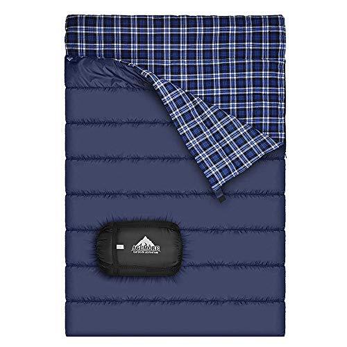 Baumwollflanell-Doppelschlafsack für Camping, Wandern oder Wandern. Queen Size 2 Person Wasserdichte Schlafsack für Erwachsene oder Jugendliche. LKW, Zelt oder Schlafsack, Leichtgewicht
