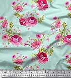 Soimoi Grun Baumwoll-Popeline Stoff Blätter, Rose &