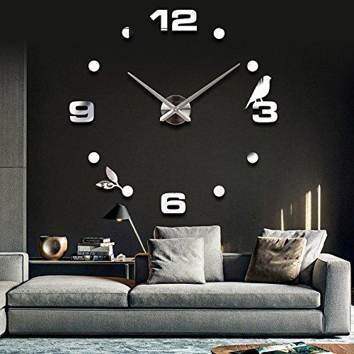Vinteen moderno minimalista fai da te personalizzato orologio digitale orologio grande orologio da parete moda 3d creativo soggiorno orologio da parete tv sfondo adesivi murali orologio orologa (nero / oro / argento) ( color : silver )