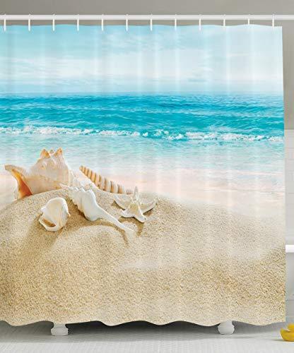 Nyngei Ocean Decor Collection Seestern Seestück Meer Strand Bild Drucken Badezimmer Set Stoff Duschvorhang mitBlau/Sand Weiß - Meer Duschvorhang-sets