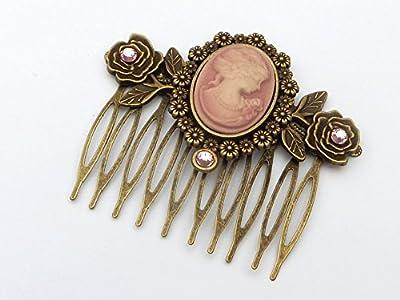 Peigne cheveux avec Cameo et roses en bronze rose
