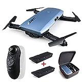 Drone con fotocamera con 2 pezzi di batteria, JJRC H47 ELFIE WiFi FPV Selfie Drone con videocamera HD 720P Modalità senza testa con giroscopio Controller QC Quadcopter per bambini Principianti