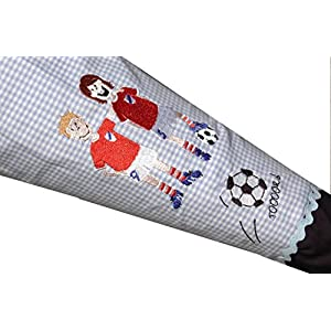 Schultüte, Schultütenbezug Fußball mit Namen und Einschulungsdatum