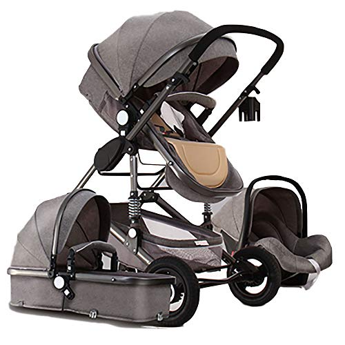 Baby Stroller,Babyfond-JTBS,T900 Folding Travel System Pushchair,Lightweight Sleeping Bassinet,Hand-held Safe Seat for 0-3 Year Old Newborn (Deep Gray) (Travel Baby-baby System)