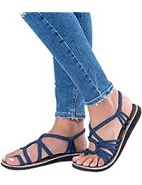 331bd07a0a6e Familizo 2018 New Women s Flat Sandals Summer Clip Toe Flip Flops Thongs  Bohemian Style Beach Shoes Wedge Heels Open Toe…