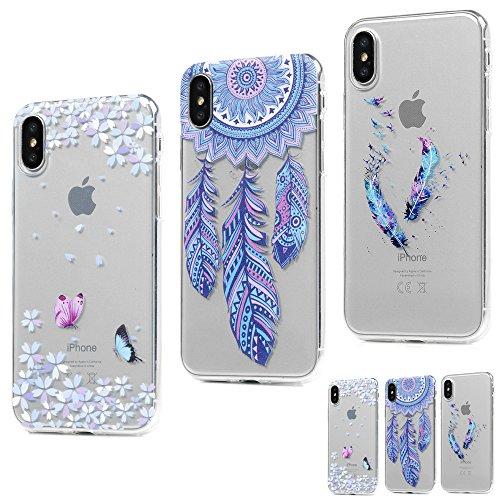 MAXFE.CO 3 × Schutzhülle Tasche Case für iPhone X TPU Silikon Cover Gemalt Muster Etui Protective Schale Bumper Löwenzahn + Traumfänger + Mädchen Traumfänger + Feder + Schmetterling