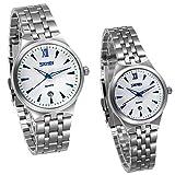 JewelryWe 1 Paar / 2PCS Armbanduhr, Elegant Kalender Business Casual Analog Quarz Uhr Silber Edelstahl Band Quarzuhren mit Blau Zeiger für Herren Damen
