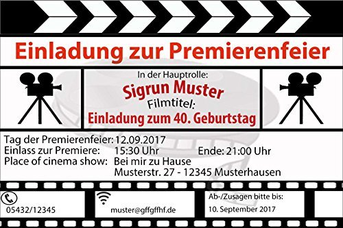 Einladungskarten zum Geburtstag als Filmklappe Film Kino Movie (30 Stück) Regisseur Filmabend