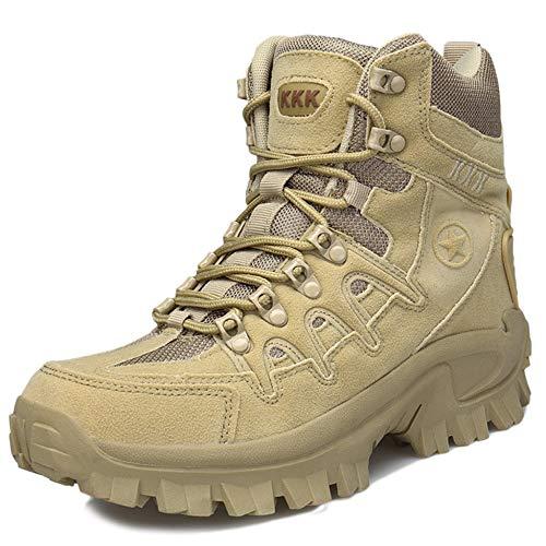 Herren Martin Stiefel Outdoor Desert Boot Hohe Tops Tooling Combat Militärschuh Kletterschuhe Taktische Komfortable Atmungsaktive Schuhe,Beige-40