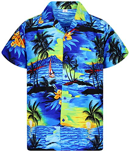 V.h.o. funky hawaiian shirt, surf, blu, xl