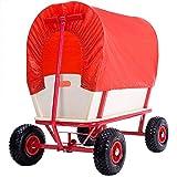 Deuba Bollerwagen | bis 180 kg belastbar | Plane Rot | 4 luftgefederte Allroundprofil Reifen | Stahlrohrrahmen | Transportwagen